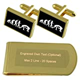Evolution Ape to Man Wrestling Gold-tone Cufflinks Money Clip Engraved Gift Set