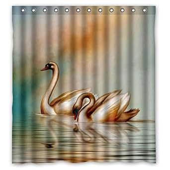 Eco Friendly Vintage Swans Duck Bird Art Painting Shower Curtain Waterproof Bathroom