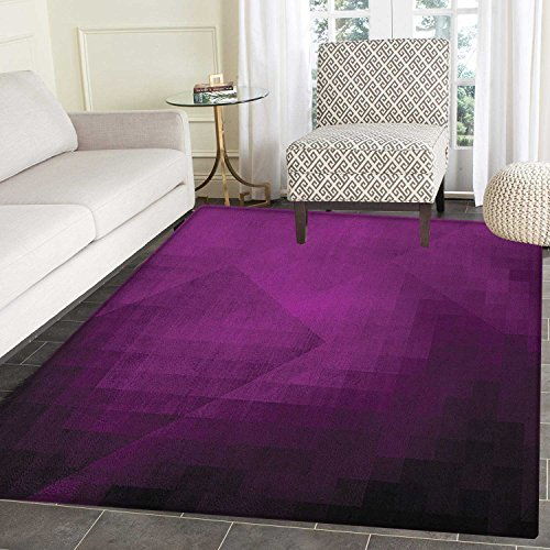 Eggplant Rugs for Bedroom Abstract Purple Squares in Faded Color Scheme with Modern Art Inspired Style Pixelart Circle Rugs for Living Room 2'x3' Purple