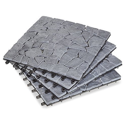 Garden Winds Gray Split Stone Deck Tiles, Box of 10 (Tile Stone Outdoor)