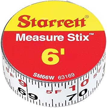 Measure Tape with Adhesive Backing English Graduation Style Left To Right Read