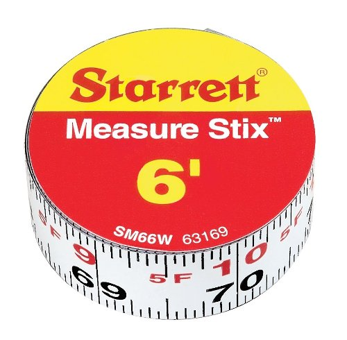 Measure Stix - Starrett Measure Stix SM66W Steel White Measure Tape with Adhesive Backing, English Graduation Style, Left to Right Reading, 6' Length, 0.75