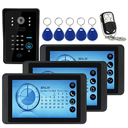 (Intercom Wired Video Door Phone Doorbell Entry System Kit with 1 Camera 3 Monitor Support Night Vision Touch Button Doorbell Video Entry System Intercom Kit (Password, Swipe, Remote Unlock))