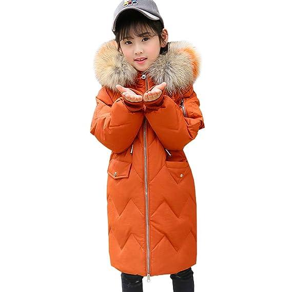 LSERVER Abrigo Acolchado Hombro Suelto de Plumas para niña Chaqueta de Invierno Abrigo Engrosado con Capucha de Pelo de múltiples Colores: Amazon.es: Ropa y ...