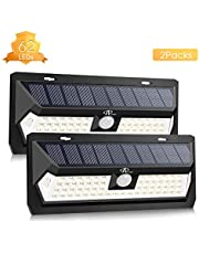 Solar Lights Outdoor, ACCEWIT Upgraded 62 LED Solar Security Light with 2000 mAh Solar Powered Lights, 270°Wide-Angle Lighting Motion Sensor and 3 Intelligent Modes for Outside(2 Pack)