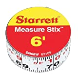 "Starrett Measure Stix SM66W Steel White Measure Tape with Adhesive Backing, English Graduation Style, Left To Right Reading, 6' Length, 0.75"" Width, 0.0625"" Graduation Interval"