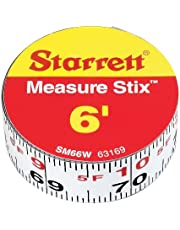 """Starrett Measure Stix SM66W Steel White Measure Tape with Adhesive Backing, English Graduation Style, Left to Right Reading, 6' Length, 0.75"""" Width, 0.0625"""" Graduation Interval"""