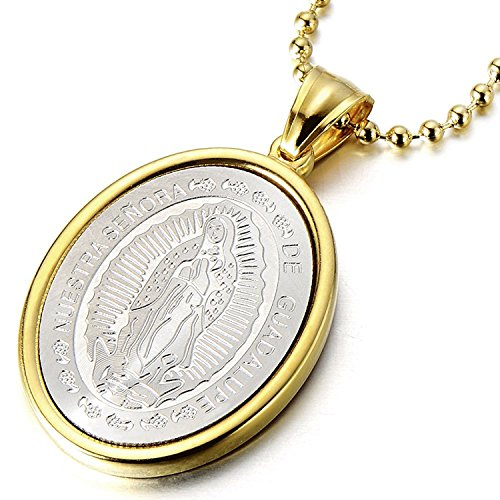 Gold Virgin Mary Maria Oval Miraculous Medal Pendant Stainless Steel Necklace for Men Women
