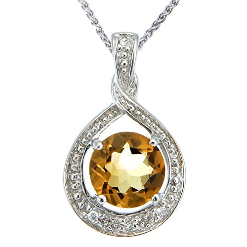 Sterling Silver Citrine Pendant (1.30 CT) With 18 Inch Chain