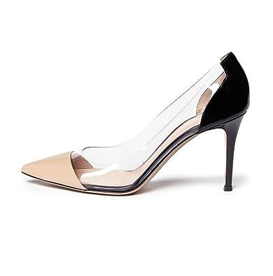 eaf6efa8075 ViViKiKi Women s 80mm High Heel Pointy Toe Plexi Pumps Slip On Patent Shoes  Nude US13