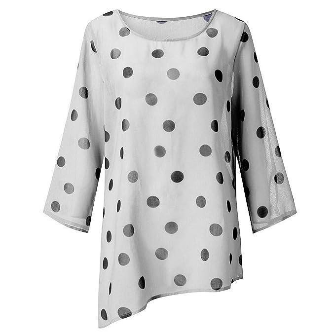 Damen Rundhals Langarm Bluse Shirt Retro Gestreift Freizeit Lose Hemd Top Blusen
