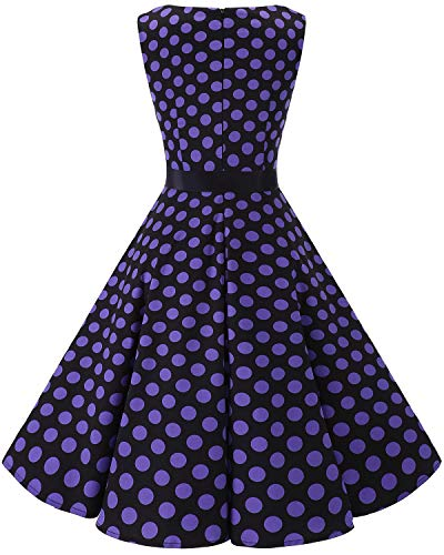 Retro Rockabilly Dot Women's Vintage Party Black 1950s Big Cocktail Bbonlinedress Swing Purple Dress PXuOkZi