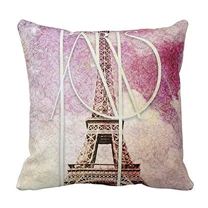 Girly Pink Purple Damask Eiffel Tower Paris Accent Pillows