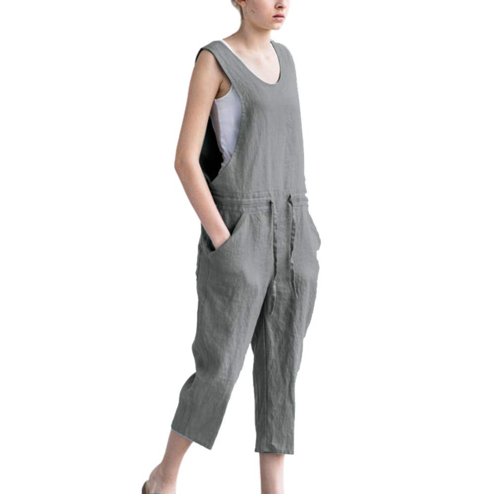Clearance! Women's Strappy Jumpsuits Overalls Casual Baggy Romper Bib Harem Pants Wide Leg Loose Trousers (Gray, L)