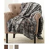 "Pinzon Faux Fur Throw Blanket 63"" x 87"", Frost Grey"