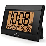 MARATHON CL030052BK Digital Wall Clock With Temperature & Humidity - Batteries Included