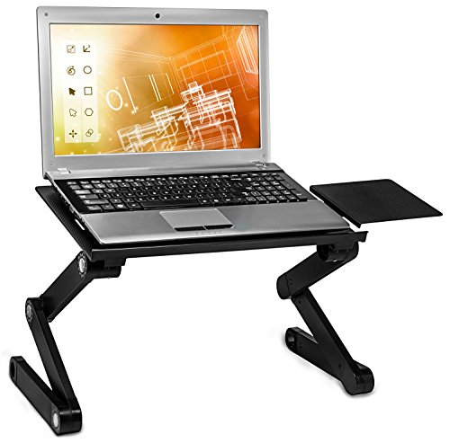 Mount-It! Adjustable Laptop Stand with Built-In Cooling Fans and Mouse Pad Tray, Easy to Use Ergonomic Laptop Stand for Bed, Couch, and Table, Portable and Lightweight