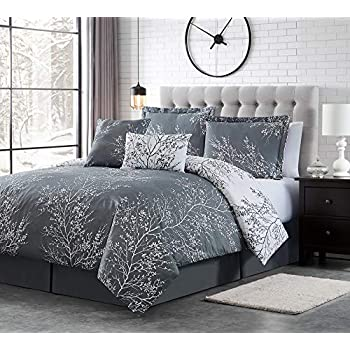 Spirit Linen 6pc Warm and Cozy Comforter Set Platinum Bedding Collection Baby Soft Texture Plush Bed Blanket (Dark Grey, King)