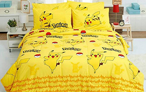 Pokemon Official Licensed Yellow Bed Sheet Set, Fitted Sheet, Pillow Case, Bolster Case (not included COMFORTER) DL005 Set A (Twin 42