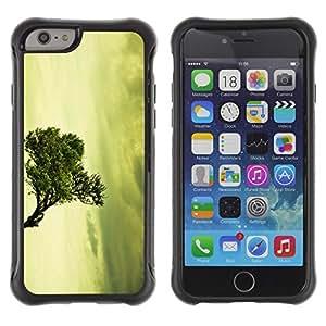 Híbridos estuche rígido plástico de protección con soporte para el Apple iPhone 6 (4.7) - vignette vintage green nature
