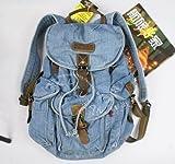Stone Wash Denim Backpack Schoolbag Lot of Pockets Great Look for School