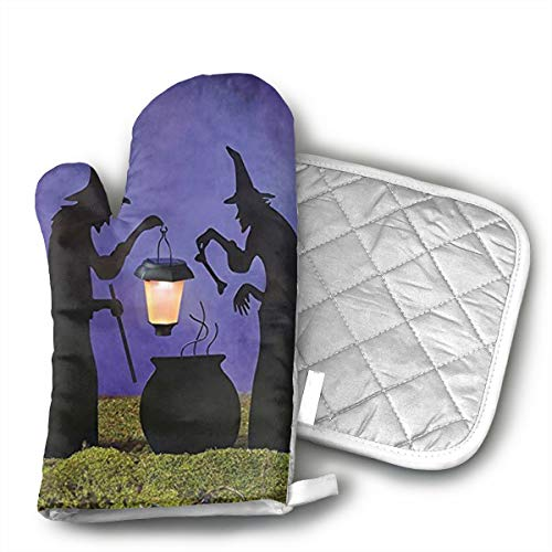 QEDGC Witch Cauldron Pot Solar Lighted Lantern Halloween Silhouette Oven Mitts Non-Slip Home Kitchen Cooking Barbecue Microwave Women/Men Machine Washable BBQ ()