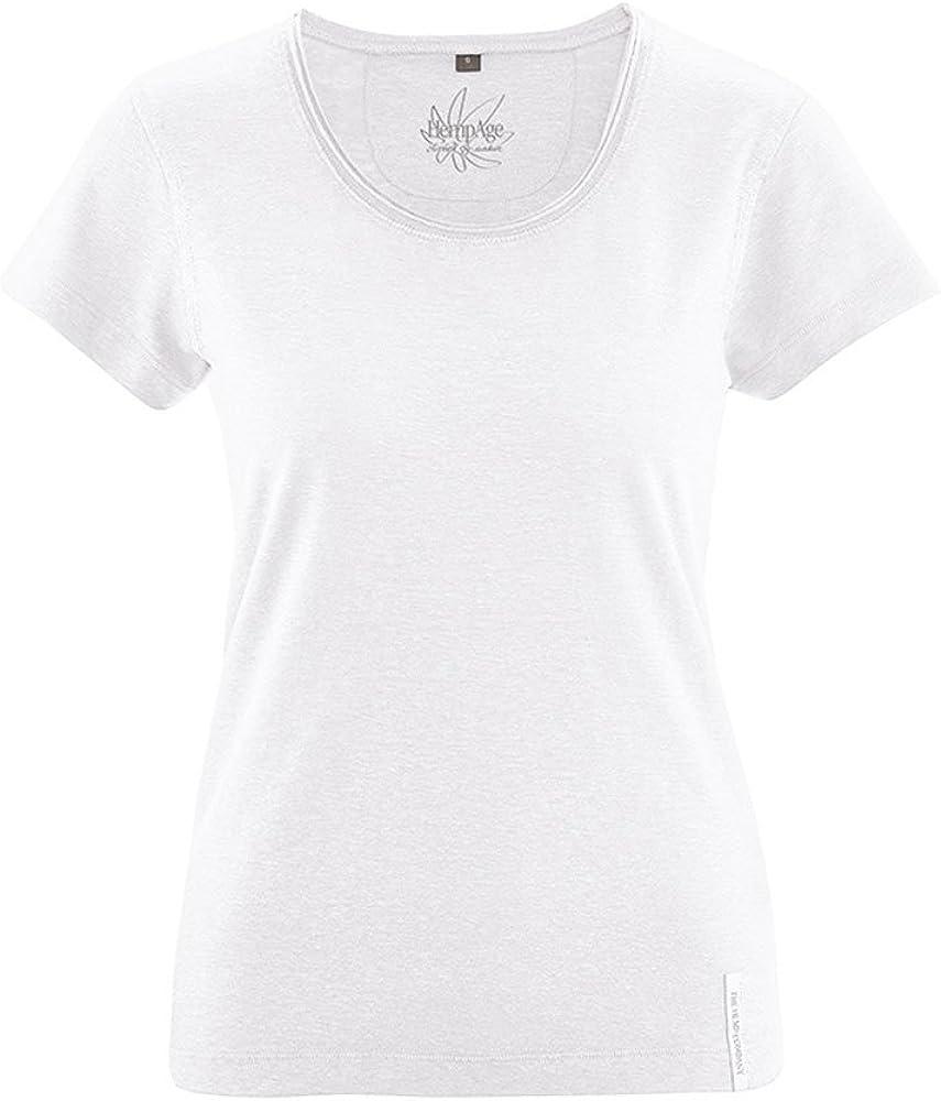 HempAge - Camiseta de cáñamo y algodón orgánico para mujer blanco ...