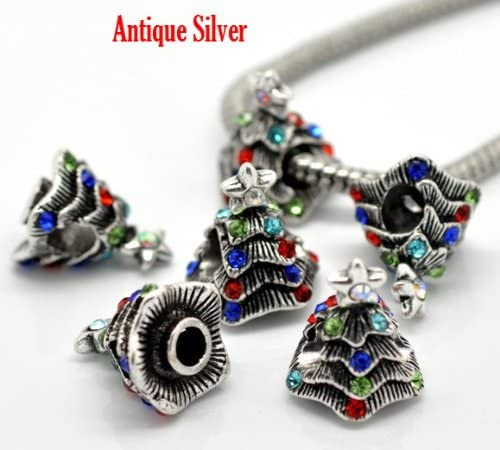 Set of Two Charms Snowflake Charm and Christmas Tree Charm Spacer Beads For Snake Chain Charm Bracelet