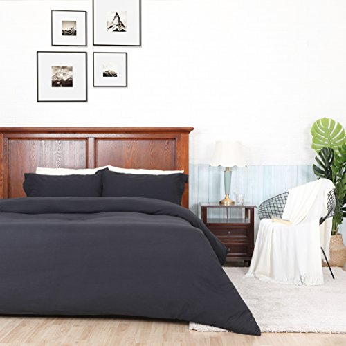 ALPHA HOME Soft Brushed Microfiber Duvet Cover Set 3-piece Bedding Set with Zipper Closure - Black, King by ALPHA HOME