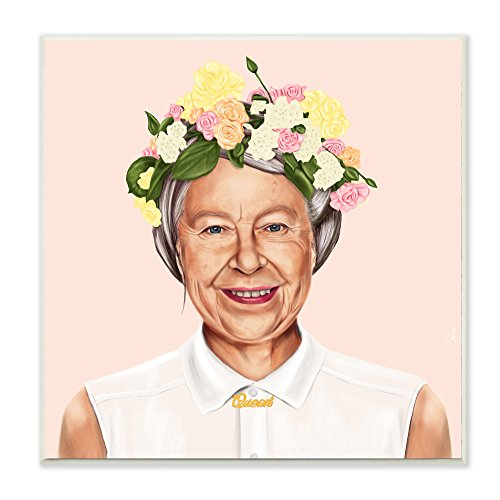 Stupell Home Décor HIPSTORY Hipster Queen Elizabeth Wall Plaque Art, 12 x 1.5 x 12, Proudly Made in USA