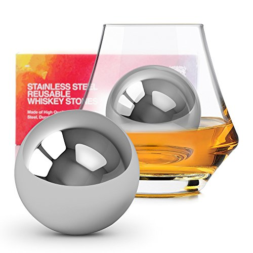 Homestia Whiskey Balls Stainless Steel Chilling Stones Reusable Ice Cubes by Homestia 2.2'' Pack of 2 by Homestia