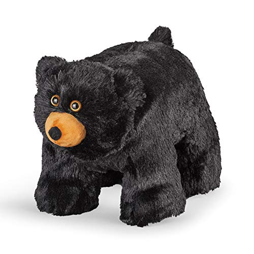 Collections Etc Plush Black Bear Footstool Cabin Décor with Plush Faux Fur for a Charming Addition to Any ()