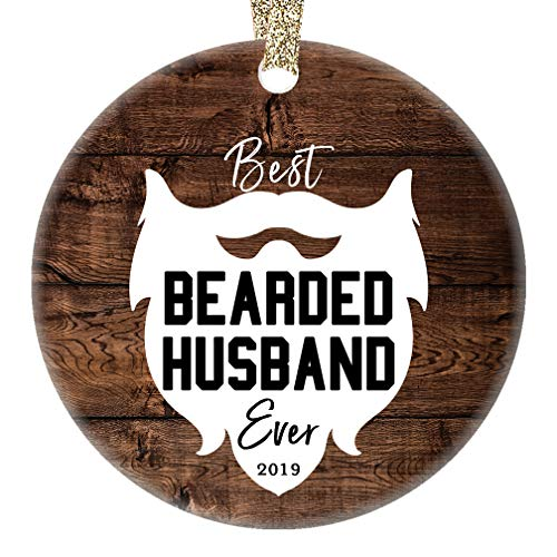 (Bearded Husband Ornament Best Ever Humorous Christmas 2019 Ceramic Collectible Present Holiday Keepsake for Hubby Spouse from New Bride Wife Partner 3