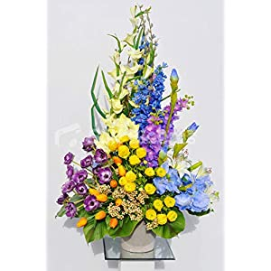 Silk Blooms Ltd Artificial Multi Coloured Tulip, Anemone and Summer Flower Vase Display w/Leaves 76