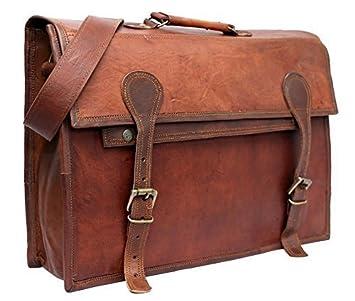 """f12f7bc58b COOL STUFF 17"""" Grand Sac Homme Vintage cuir veritable pour ordinateur  portable de 17 pouces"""