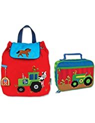 Stephen Joseph Boys Quilted Tractor Backpack and Lunch Box for Kids