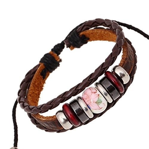 [Victoria Echo Handmade Braided Leather Wrist Band Beads Multilayer Wrap Bracelet Red] (Johnny Depp Wolf Costume)