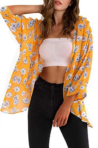 (MYIFU Women's 3/4 Sleeve Floral Print Chiffon Kimono Cardigan Capes (Yellow, S))