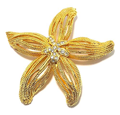 - Kenneth Jay Lane, Satin Gold Turtle PIN, with Pave Crystal FACE and Emerald Eyes (Starfish)