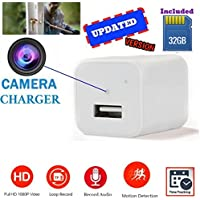 [Updated] White USB Wall Charger Hidden Camera | 32GB Included | 1080P HD | Motion Activated & Loop Recording Mode | For Home Security, Pet Camera, Nanny Spy Cameras With Audio | by Beautys7