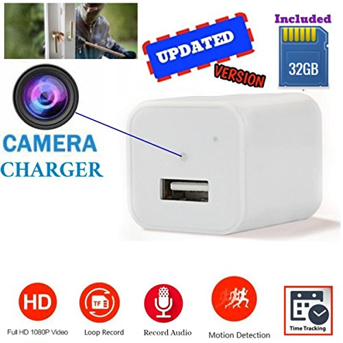 [Updated] White USB Wall Charger Hidden Camera | 32GB Included | 1080P HD | Motion Activated & Loop Recording Mode | For Home Security, Pet Camera, Nanny Spy Cameras With - Monitor For Computer Goggles