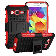 Samsung Galaxy Core Prime Case Cover -Lantier Tough Rugged Dual Layer Protective Case with Kickstand for Samsung Galaxy Core Prime G360 / Prevail LTE (2015 Release) Red