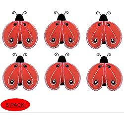 "Bugs-n-Blooms Nylon Ladybugs Pack Of 6-2"" Red Black Mini Shimmer Mesh Organza Ladybug Decor For Wedding Party Table Scatter Scrapbook Craft Card Girls Bedroom Baby Nursery Home Wall Decorations by"
