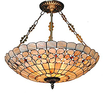 DINGGU™20 Inch 5 Lights Tiffany Style Inverted Ceiling Chandelier Pendant Light Fixtures