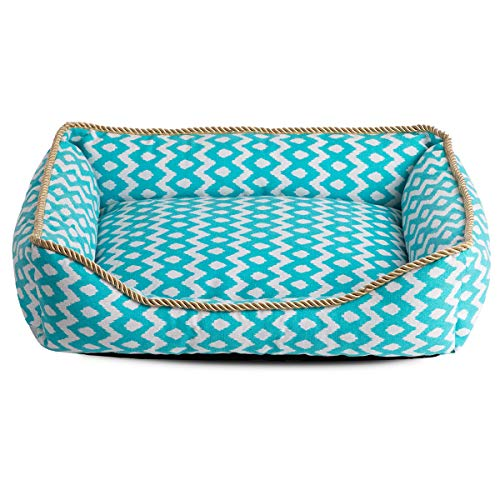 Hollypet Printed Canvas Fabric Plush Small Dog Cat Bed Self-Warming Pet Bed, Blue