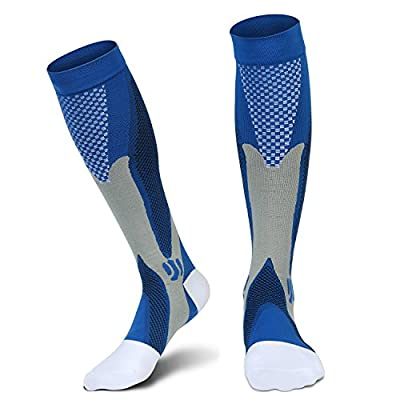 Compression Socks(20-30 mmHg) for Men Women, for Running, Pregnancy, Flight, Travel, Nursing, Boost Stamina, Speed Up Recovery, Better Blood Circulation, Blue,1 Pair