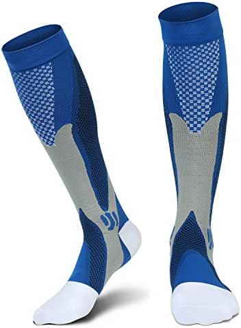 Graduated Compression Socks for Men Women, for Running, Pregnancy, Flight, Travel, Nursing, Boost Stamina, Speed Up Recovery, Better Blood Circulation, Blue,1 Pair
