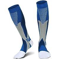Compression Socks(20-30 mmHg) for Men Women, for Running, Pregnancy, Flight, Travel, Nursing, Boost Stamina, Speed Up Recovery, Better Blood Circulation, Blue,1 Pair