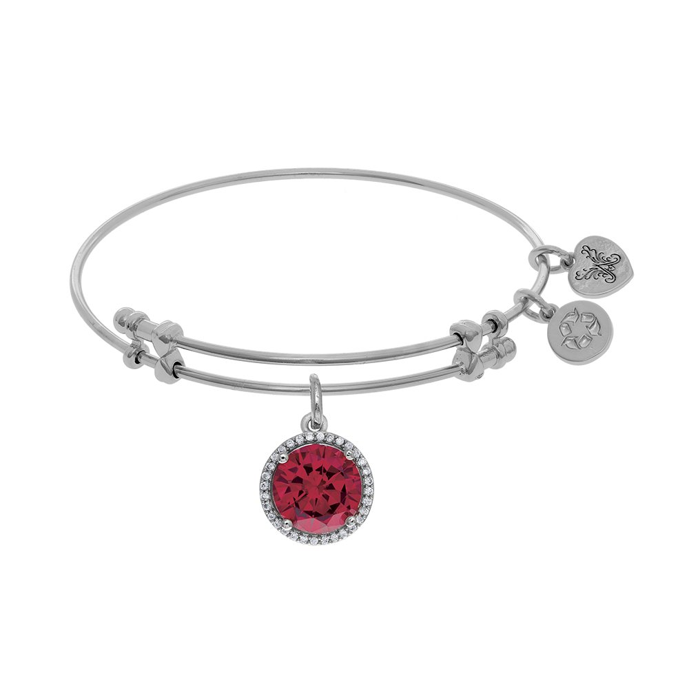 Angelica 7.25 Inches July CZ Bangle Bracelet Adjustable