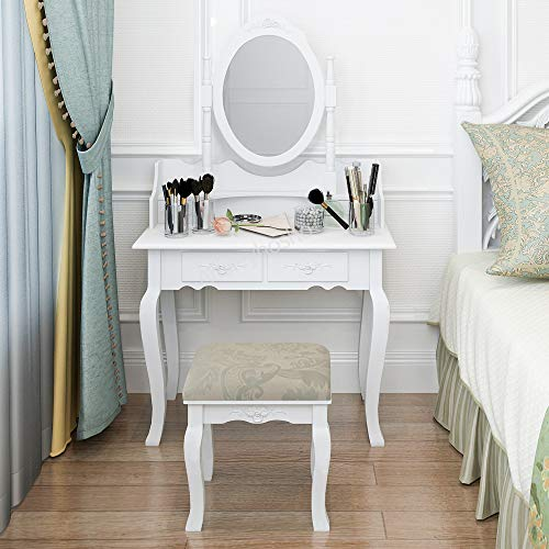 huisenus Modern White Makeup Vanity Table Set Simple Dressing Table Set with Swiveling Mirror & 4 Drawers Organizer & Wood Cushioned Stool for Bedroom Corner Bathroom Gift for Kids Girl Woman (White) ()